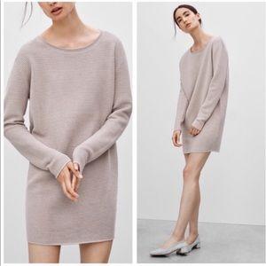 Aritzia Wilfred Capanule Tan Ribbed Sweater Dress
